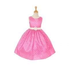 Cinderella Couture Big Girls Pink White Polka Dot Belted Occasion Dress 8-12