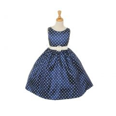 Cinderella Couture Little Girls Navy White Polka Dot Belted Occasion Dress 2-6