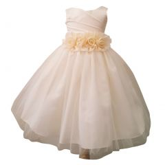 Baby Girls Ivory Rosette Embellished Waist Overlaid Flower Girl Dress 6-24M