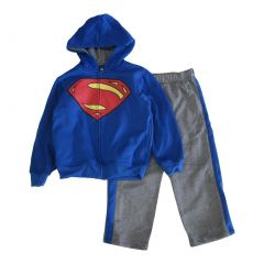 Marvels Little Boys Royal Blue Grey Superman Logo Sweatshirt 2 Pc Pant Set 4-7