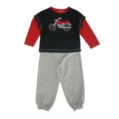 Little Me Little Boys Grey Red Motorbike Detail 2 Pc Pant Outfit 2-4T
