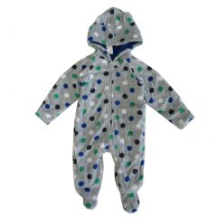 Healthtex Baby Boys Grey Polka Dotted Print Full Body Hooded Bodysuit 0-9M