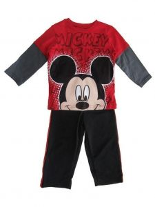 Disney Little Boys Red Mickey Mouse Long Sleeve Set 2T-4T