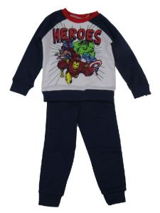 Marvel Big Boys Navy Blue White Avengers Heroes Long Sleeve 2 Pc Outfit 4-7