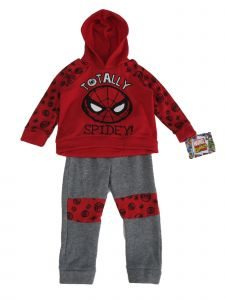 Marvel Little Boys Grey Spiderman Totally Spidey Long Sleeve Fleece Outfit 2-4T