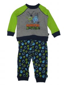 Disney Baby Boys Green Pixar Monsters Inc Long Sleeve Top Joggers Outfit 24M