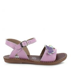 Rilo Girls Lilac Butterfly Accents Buckle Strap Leather Sandals 11-2 Kids