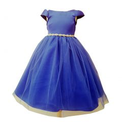 Little Girls Royal Blue Tulle Overlay Short Sleeve Bejeweled Special Occasion Dress 4-6