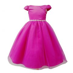 Little Girls Fuchsia Tulle Overlay Short Sleeve Bejeweled Special Occasion Dress 4-6