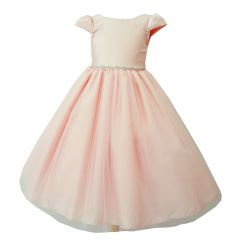Big Girls Blush Tulle Overlay Short Sleeve Bejeweled Special Occasion Dress 8-14