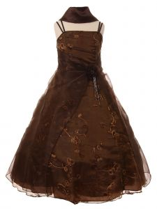 Cinderella Couture Little Girls Brown Flower Sequin Scarf Pageant Dress 2-6