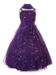 Cinderella Couture Little Girls Purple Flower Sequin Scarf Pageant Dress 2-6