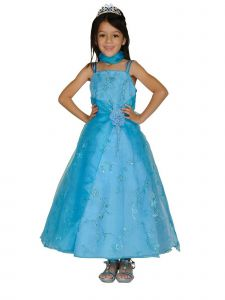Cinderella Couture Little Girls Turquoise Flower Sequin Scarf Pageant Dress 2-6