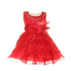 Cinderella Couture Baby Girls Red Crystal Organza Cascade Ruffle Dress 6-24M