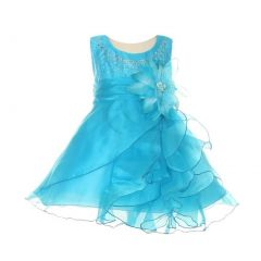 Cinderella Couture Baby Girls Turquoise Crystal Organza Ruffle Dress 6-24M