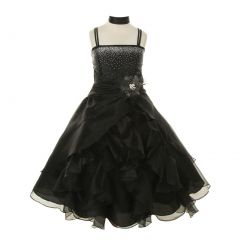 Cinderella Couture Big Girls Black Crystal Organza Cascade Ruffle Dress 8-14