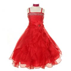 Cinderella Couture Little Girls Red Crystal Organza Cascade Ruffle Dress 2-6