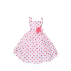 Cinderella Couture Little Girls Coral Polka Dots Easter Flower Girl Dress 2-6