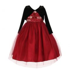 Little Girls Burgundy Rosette Velvet Jacket Tulle Special Occasion Dress 2-6