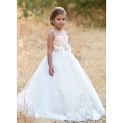 Girls Cream Ivory Heidi 3D Lace Floral Applique Special Occasion Gown 5-7
