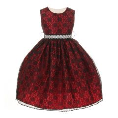 Cinderella Couture Girls Red Lace Taffeta Jeweled Belt Flower Girl Dress 2-6