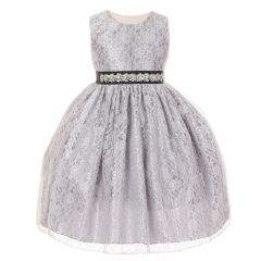 Cinderella Couture Girls Silver Lace Taffeta Jeweled Belt Flower Girl Dress 8-14