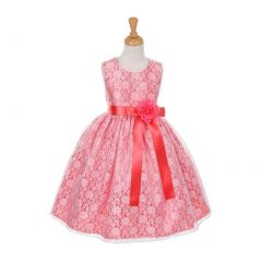 Cinderella Couture Little Girls Coral Satin Multi Color Sashes Dress 2-6