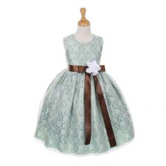 Cinderella Couture Little Girls Sage Satin Multi Color Sashes Dress 2-6