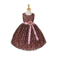 Cinderella Couture Little Girls Brown Satin Multi Color Sashes Dress 2-6