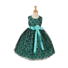 Cinderella Couture Big Girls Blue Satin Multi Color Sashes Dress 8-14