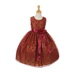 Cinderella Couture Little Girls Burgundy Satin Multi Color Sashes Dress 2-6
