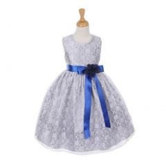 Cinderella Couture Big Girls Tea-Length Flower Corsage Dress 8-14