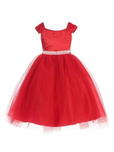 Little Girls Red Dull Satin Double Layer Tulle Pearl Belt Christmas Dress 2-6