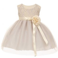 Baby Girls Silver Two Tone Lace Satin Ribbons Corsage Flower Girl Dress 6-24M