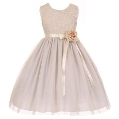 Big Girls Silver Lace Satin Sash Corsage Tulle Junior Bridesmaid Dress 8-14