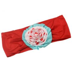 Girls Red Polka Dot Aqua Layered Flower Adornment Swim Headband