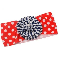 Girls Red Polka Dot Navy Stripe Print Flower Adornment Patriotic Swim Headband