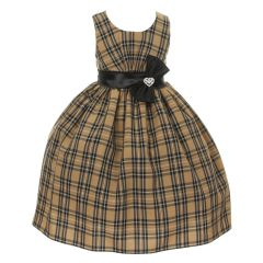 Little Girls Charcoal Checker Pattern Sash Rhinestone Brooch Christmas Dress 2-6