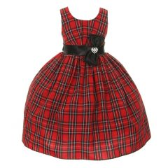 Little Girls Red Checker Pattern Sash Rhinestone Brooch Christmas Dress 2-6