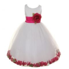Big Girls White Fuchsia Petals Satin Tulle Petal Junior Bridesmaid Dress 8-14