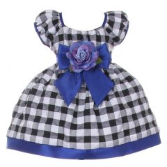 Baby Girls Black White Royal Blue Checkered Corsage Flower Christmas Dress 6-24M
