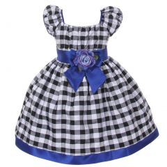 Big Girls Black White Royal Blue Checkered Corsage Flower Christmas Dress 8-10
