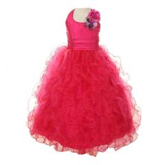 Cinderella Couture Big Girls Fuchsia Taffeta Ruffled Mesh Pageant Dress 8-14