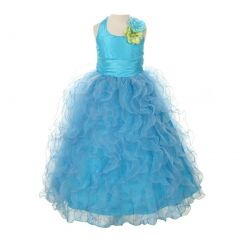 Cinderella Couture Little Girls Turquoise Taffeta Ruffle Mesh Pageant Dress 2T-6