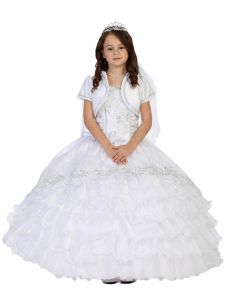 Tip Top Kids Big Girls White Ruffled Peplum Lace Communion Dress 7-18