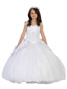 Tip Top Kids Big Girls White Cap Sleeves Lace Embroidered Communion Dress 7-18