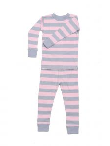 New Jammies Unisex Big Kids Pink Grey Classic Stripe 2 Pc Pajama Set 7-12