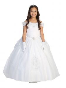 Tip Top Kids Big Girls White Glitter Virgin Mary Embroidery Communion Dress 7-18
