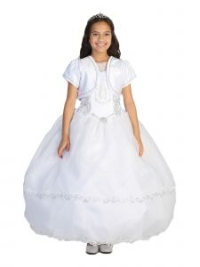 Tip Top Kids Big Girls White Metallic Lace Sleeved Maria Communion Dress 7-18