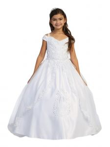 Big Girls White Lace Embroidery Split Skirt Communion Dress 12